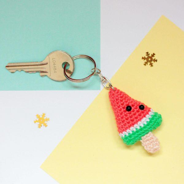 porte clef pastèque au crochet