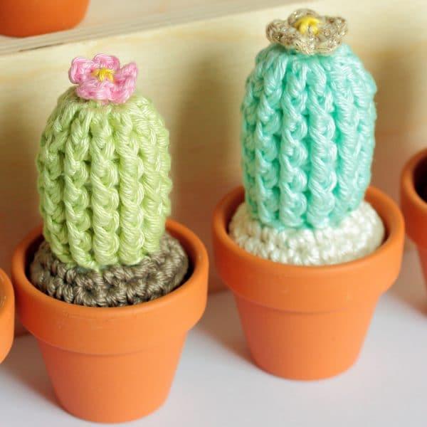 Petits cactus au crochet