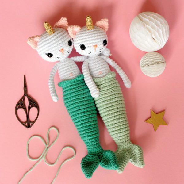 Patron au crochet chat licorne sirène