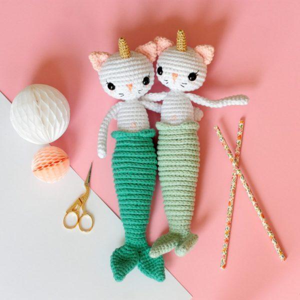 Patron amigurumi chat licorne sirène