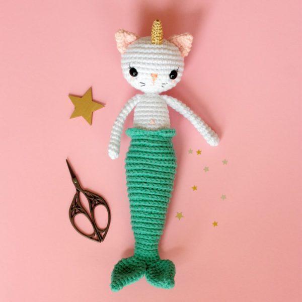 Chat sirène au crochet
